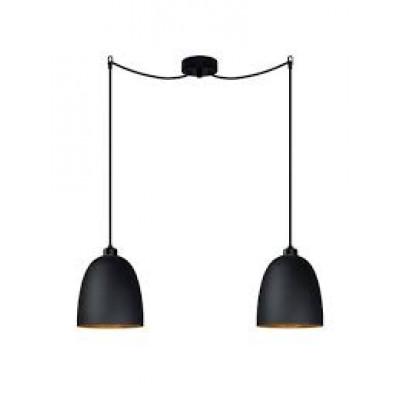Pendelleuchte Awa 2/S | Schwarz & Gold matte Glasschirm, schwarzes Netzkabel, schwarze Beschläge