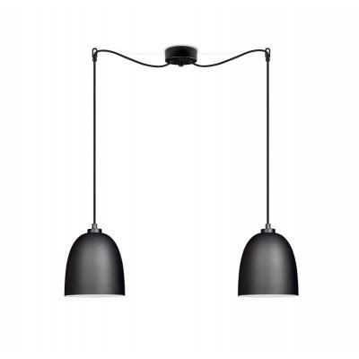 Pendelleuchte Awa 2/S | Schwarz matte Glasschirm, schwarzes Netzkabel, schwarze Beschläge