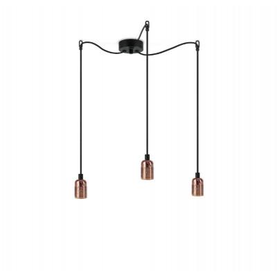 Pendant Lamp UNO S_3 | Copper lampholder, black power cord, copper hardware