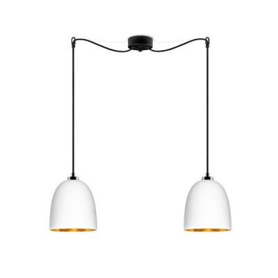 Pendelleuchte Awa 2/S | Weiß & Gold matte Glasschirm, schwarzes Netzkabel, schwarze Beschläge