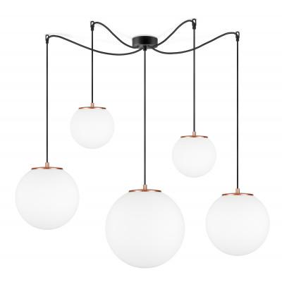 Pendant Lamp Tsuki MIX L,M,M,S,S 5_S   Matt Opal & Copper