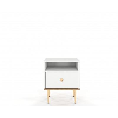 Nachttisch Harmoni | Weiß & Gold
