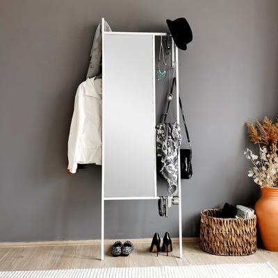 Standspiegel mit Garderobe A900 | Weiß