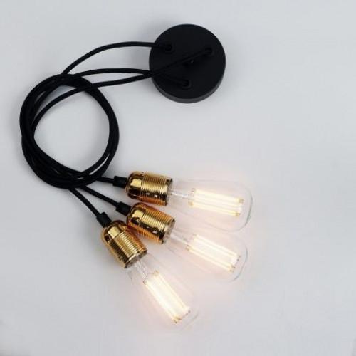 Pendelleuchte UNO BASIC 3_S | Lampenfassung aus glänzendem Messing, Schwarzes Netzkabel, Kupferbeschläge