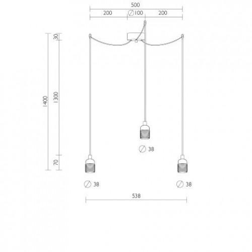 Pendelleuchte UNO BASIC 3_S | Nickel-Glanzfassung, schwarzes Netzkabel, Kupfer-Hardware
