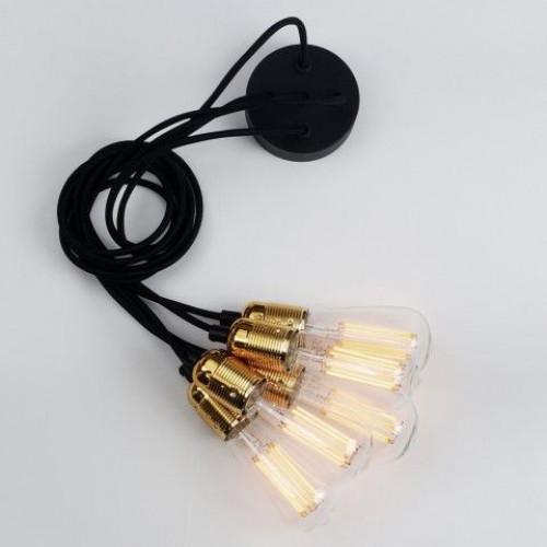 Pendelleuchte UNO BASIC 5_S | Glanzmessing-Lampenfassung, Schwarzes Netzkabel, Messingbeschläge.
