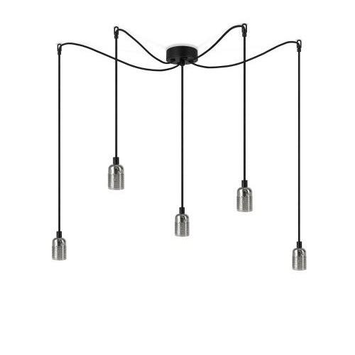 Pendelleuchte UNO BASIC 5_S | glänzende Nickel-Lampenfassung, schwarzes Netzkabel, Nickel-Hardware