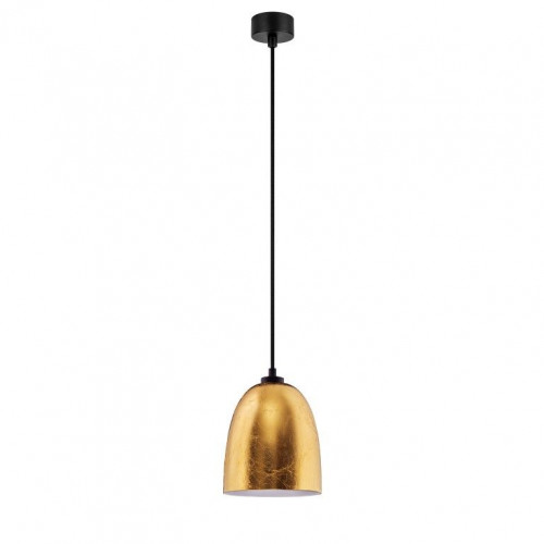Pendelleuchte Awa 1/S | Blattgold-Glasschirm / Opal-Lampenfassung, schwarzes Netzkabel, schwarze Beschläge