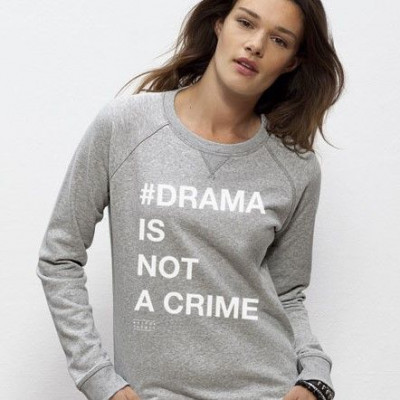 Long Sleeve Sweater # DRAMA IS NOT A CRIME   Grey