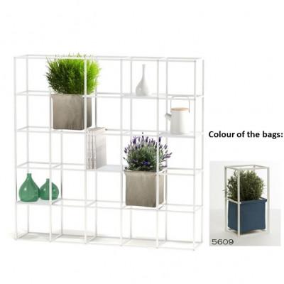 Modulares Pflanzengestell 5 x 5 Weiß + 2 blaue Taschen