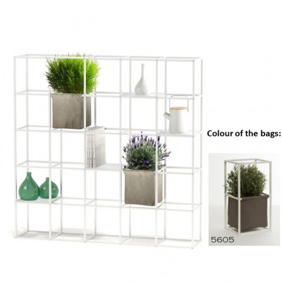 Modulares Pflanzengestell 5 x 5 Weiß + 2 braune Taschen