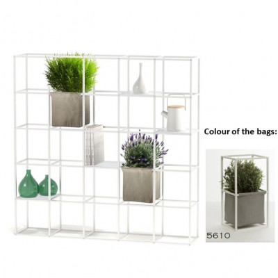 Modulares Pflanzengestell 5 x 5 Weiß + 2 graue Taschen