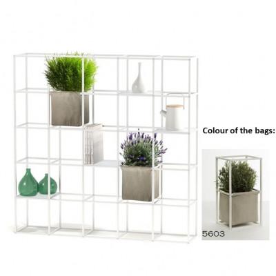 Modulares Pflanzengestell 5 x 5 Weiß + 2 Hellgraue Taschen
