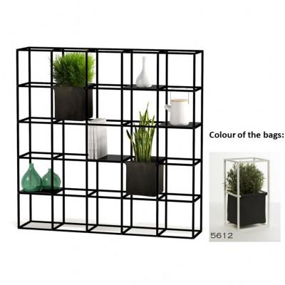 Modulares Pflanzengestell 5 x 5 Schwarz + 2 Anthrazit Taschen