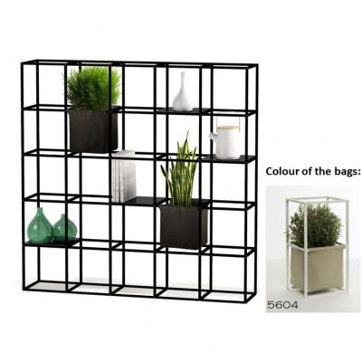 Modulares Pflanzengestell 5 x 5 Schwarz + 2 beige Taschen
