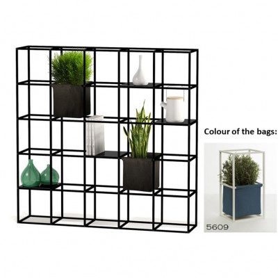 Modulares Pflanzengestell 5 x 5 Schwarz + 2 Blue Taschen