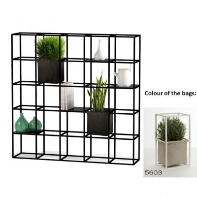 Modulares Pflanzengestell 5 x 5 Schwarz + 2 Hellgraue Taschen
