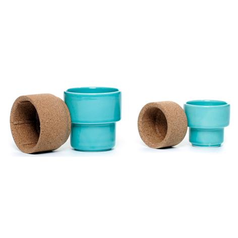 Set van 2 thee/koffietassen blauw