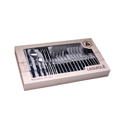 24 Pieces Cutlery Set | Black-White