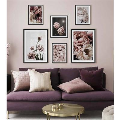 6er-Set Wandkunst Blume TS39   Mehrfarbig