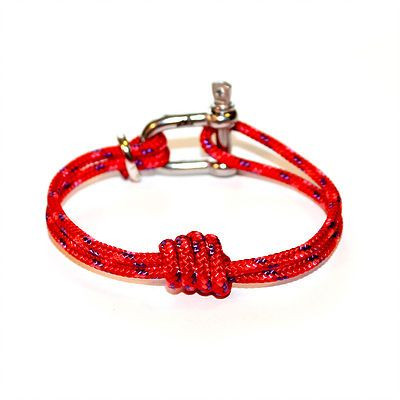 Shackle Bracelet | Double Overhand Knot | Red