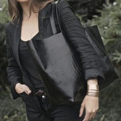 Black Oversized Tote Patkas Croc Leather