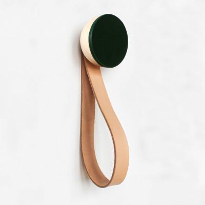 Buchenholz & Keramik Haken / Knopf mit Schlaufe Ø 6cm   Dunkelgrün