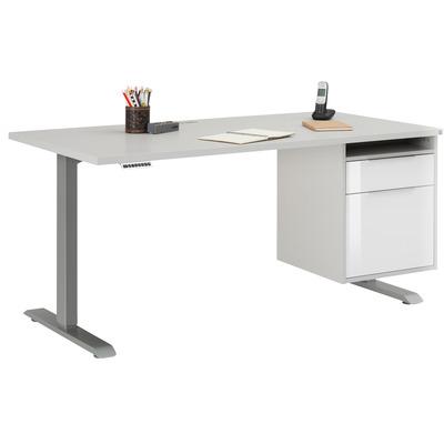 Adjustable Computer Desk | Platinum Grey Metal and Platinum Grey