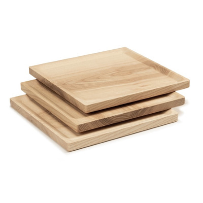 3-er Set Teller Square Best   Kaltes Eschenholz