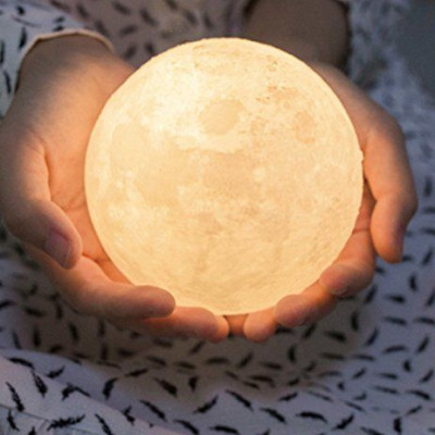 Moon Lamp including wooden base
