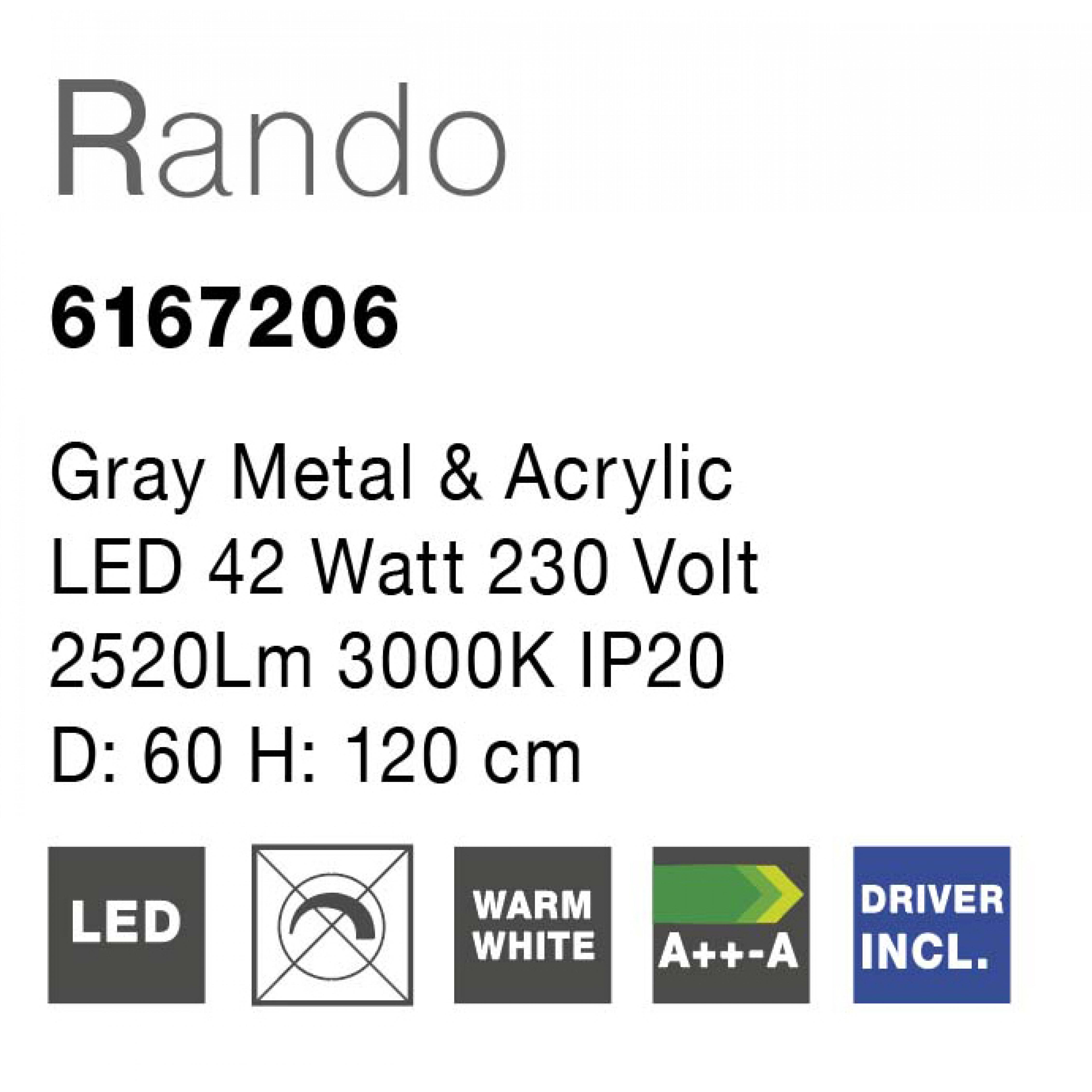 Pendelleuchte Rando T 60 cm H 120 cm   Grau