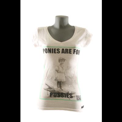 Ponies T-Shirt Women V-Neck- White