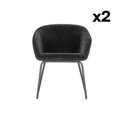2er Set Esszimmerstühle Sien Samt | Schwarz