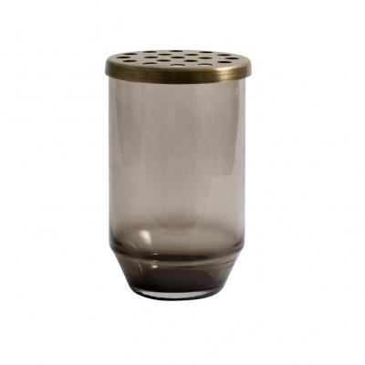 Glasvase + Metalldeckel klein | Schwarz