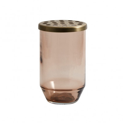 Glasvase + Metalldeckel klein | Braun