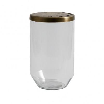 Glasvase + Metalldeckel groß | Transparent