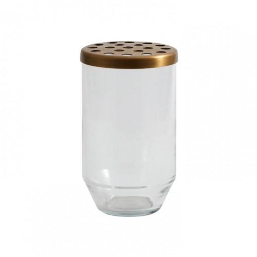 Glasvase + Metalldeckel klein | Transparent