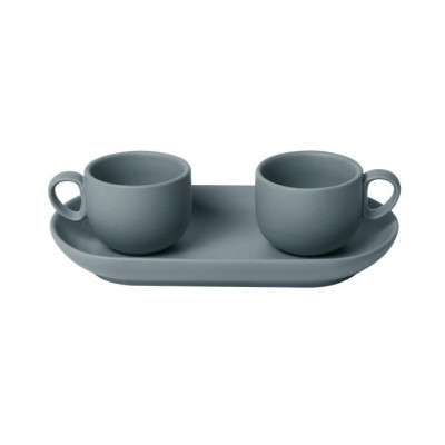 Bis Coffee Cups with Tray   Grey