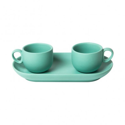 Bis Coffee Cups with Tray   Turquoise
