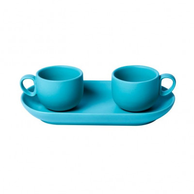 Bis Coffee Cups with Tray   Light Blue