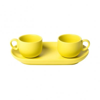 Bis Coffee Cups with Tray   Yellow