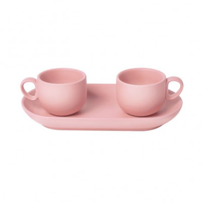 Bis Coffee Cups with Tray   Pink