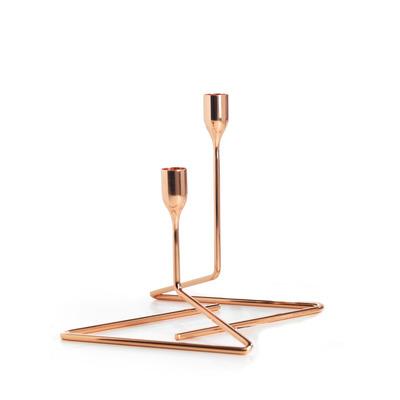 Set of 2 Candlesticks Puzzle Small & Medium | Copper