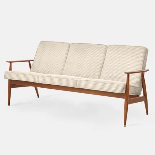 3 Seater Sofa Fox Cord | Dark Wood & Cream