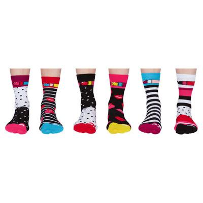 Damen Geschenkbox 6er Pack Socken Lips   37-42