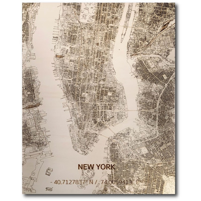 Wooden Wall Decoration | City Map | New York
