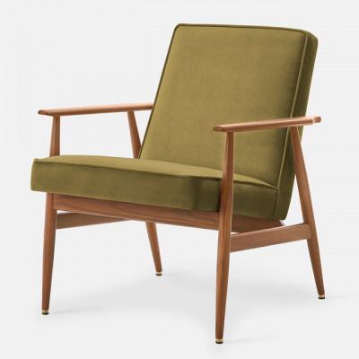 Sessel Fox Samt | Dunkles Holz & Olivgrün