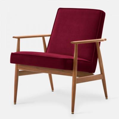 Sessel Fox Samt | Dunkles Holz & Merlot Rot