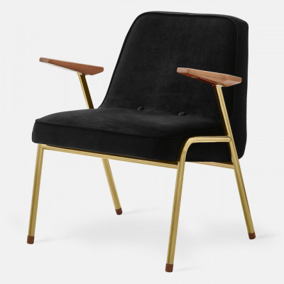 Sessel 366 Samt | Gold Glanz Metall & Schwarz