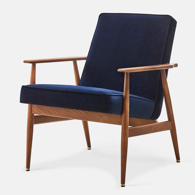 Armchair Fox Velvet | Dark Wood & Indigo Blue